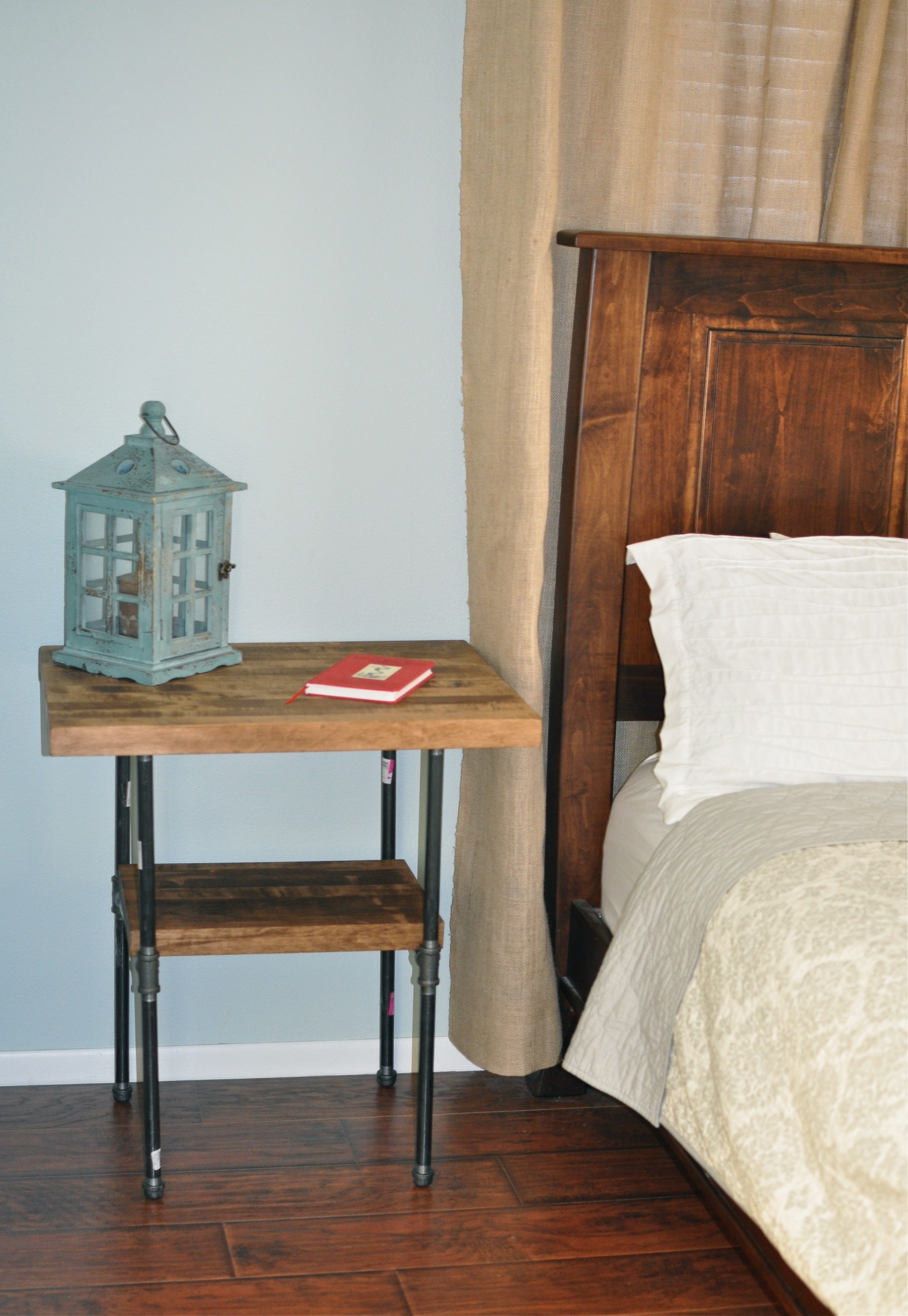 Diy Small Bedside Tables: Butcher Block And Iron Pipe Bedside Table
